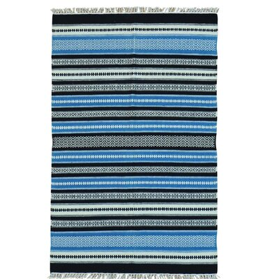 Striped Flat Weave Durie Kilim Oriental Hand-Knotted Wool Black/Blue Area Rug