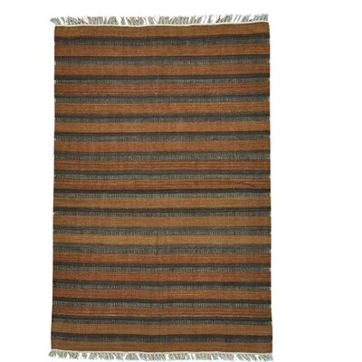 Durie Kilim Striped Flat Weave Oriental Hand-Knotted Wool Brown Area Rug