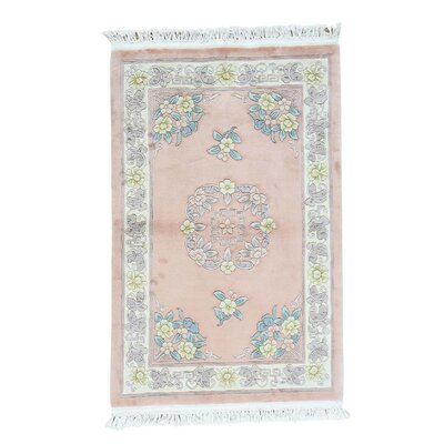 Chinese and Plush Ming Dynasty Hand-Knotted Pink Area Rug
