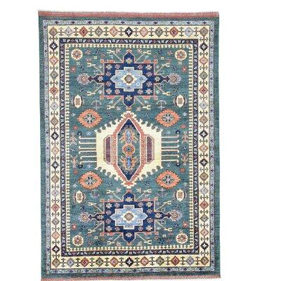 Afghan Ersari Caucasian Motifs Oriental Hand-Knotted Wool Teal Area Rug