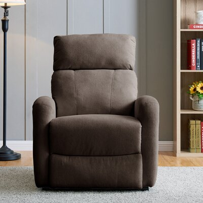 Wirth Power Recliner Upholstery: Chocolate Brown