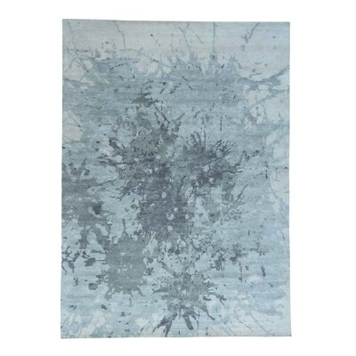 Splash Abstract Oriental Hand-Knotted Gray Area Rug
