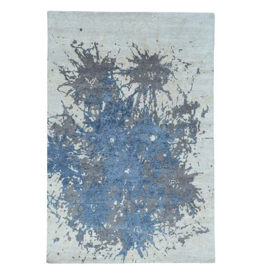 Splash Abstract Hand-Knotted Gray Area Rug