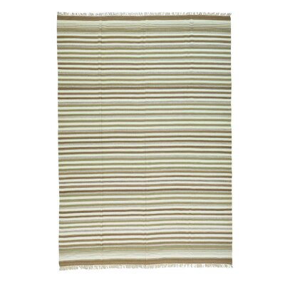 Flat Weave Striped Kilim Oriental Hand-Knotted Cream/Brown Area Rug