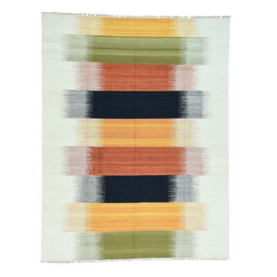Kilim Flat Weave Oriental Hand-Knotted Green/Orange Area Rug