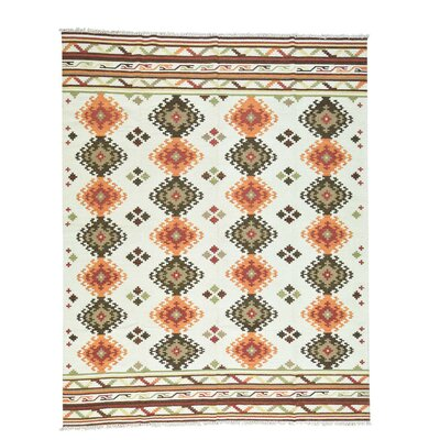 Anatolian Durie Kilim Flat Weave Oriental Hand-Knotted Ivory Area Rug
