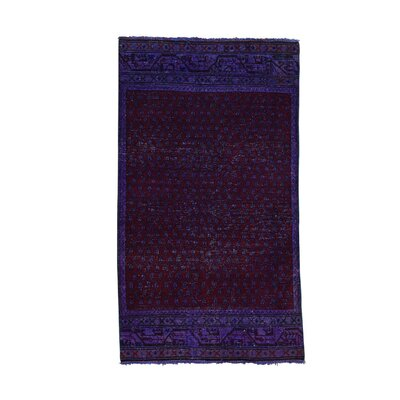 Overdyed Sarouk Mir Oriental Hand-Knotted Purple Area Rug