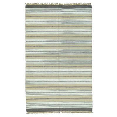 Striped Kilim Flat Weave Oriental Hand-Knotted Dark Gray/Beige Area Rug