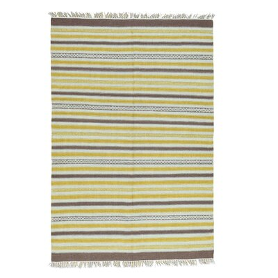 Striped Kilim Flat Weave Hand-Knotted Brown/Yellow Area Rug