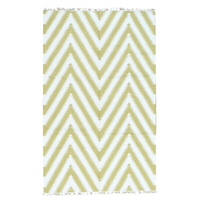 Zigzag Kilim Flat Weave Hand-Knotted Light Green Area Rug