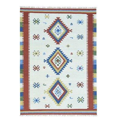 Anatolian Kilim Flat Weave Hand-Knotted Ivory Area Rug
