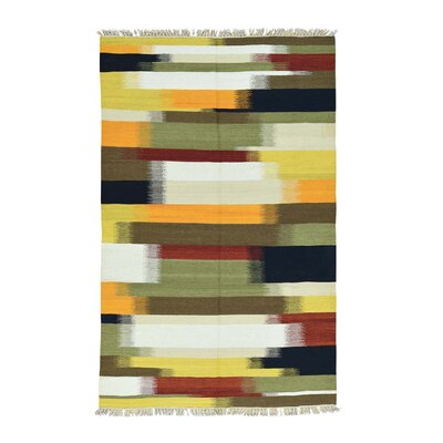 Kilim Flat Weave Hand-Knotted Yellow/Light Green Area Rug