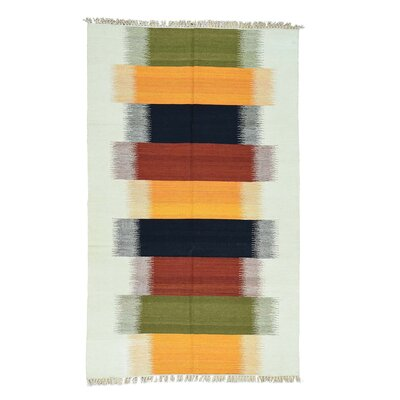 Kilim Flat Weave Hand-Knotted Yellow/Blue Area Rug