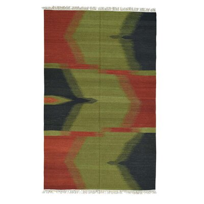 Flat Weave Reversible Durie Kilim Hand-Knotted Green/Red Area Rug