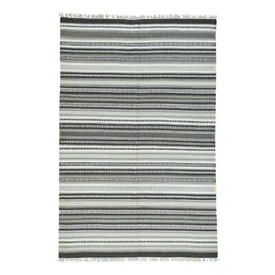 Flat Weave Striped Durie Kilim Hand-Knotted Dark Gray/White Area Rug