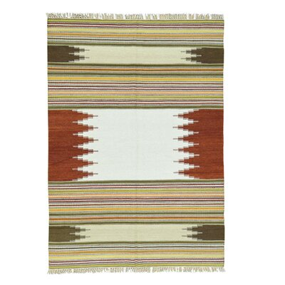 Flat Weave Durie Kilim Hand-Knotted Light Green/Red Area Rug