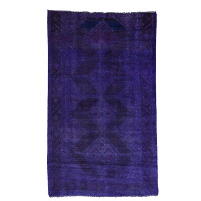 Overdyed Hamadan Worn Oriental Hand-Knotted Purple Area Rug