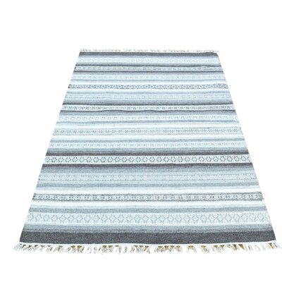 Striped Reversible Kilim Oriental Flat Weave Hand-Knotted White/Gray Area Rug