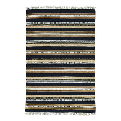 Striped Reversible Kilim Flat Weave Hand-Knotted Beige/Rust Area Rug