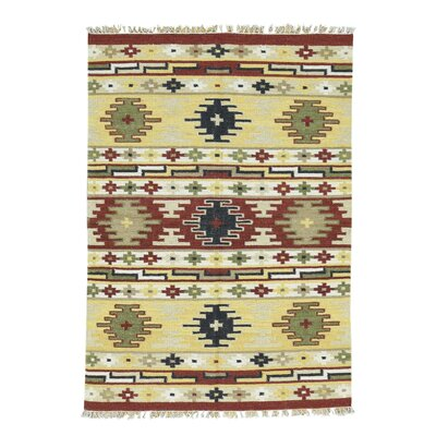 Anatolian Durie Kilim Flat Weave Hand-Knotted Yellow/Rust Area Rug