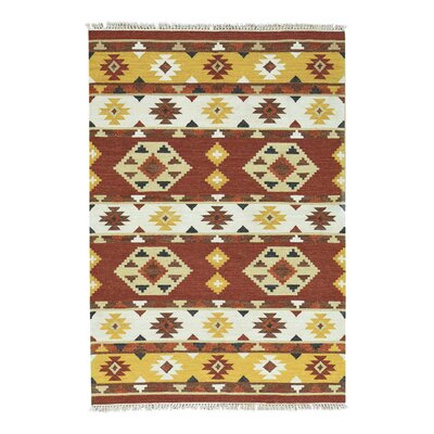Anatolian Kilim Flat Weave Oriental Hand-Knotted Yellow/Rust Area Rug