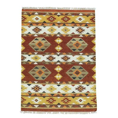 Anatolian Kilim Flat Weave Oriental Hand-Knotted Yellow/Rust Area Rug