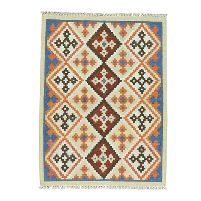 Anatolian Kilim Flat Weave Oriental Hand-Knotted Blue/Orange Area Rug