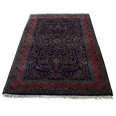 New Zealand 300 KPSI Sarouk Fereghan Hand-Knotted Blue Area Rug