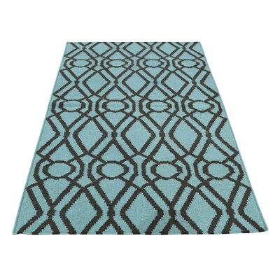 Durie Kilim Flat Weave Oriental Hand-Knotted Green Area Rug