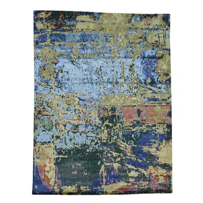 Abstract Oriental Hand-Knotted Silk Dark Blue/Green Area Rug