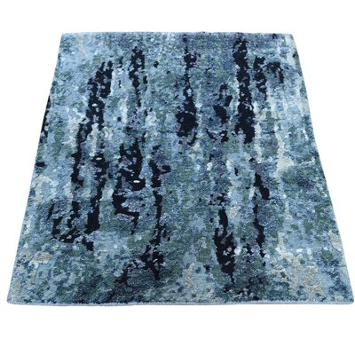 Abstract Oriental Hand-Knotted Silk Dark Blue/Light Blue Area Rug