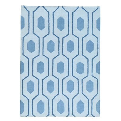 Flat Weave Oriental Reversible Kilim Hand-Knotted Blue Area Rug