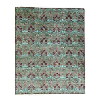 Crafts Hand-Knotted Green Area Rug