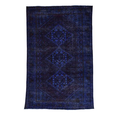 Overdyed Shiraz Oriental Hand-Knotted Blue Area Rug