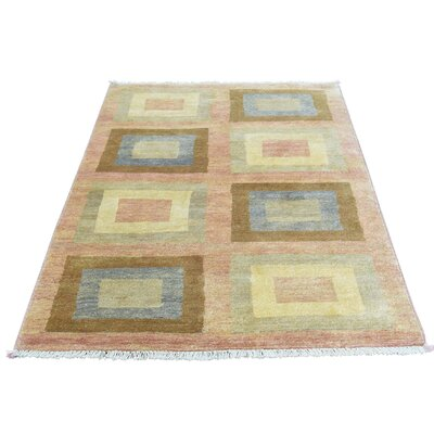 One-of-a-Kind Rothermel Modern Oriental Hand-Knotted Wool Pink Area Rug