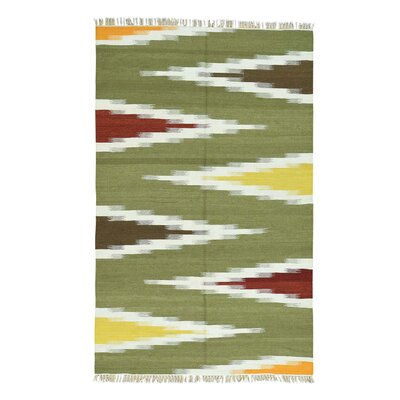 Flat Weave Reversible Kilim Hand-Knotted Light Green/ Yellow Area Rug