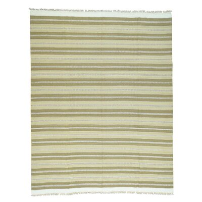 Striped Flat Weave Kilim Oriental Hand-Knotted Green Area Rug