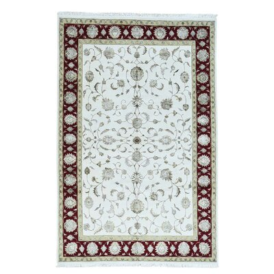 Rajasthan Half and Half Oriental Hand-Knotted Silk Red Area Rug