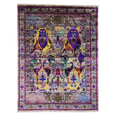 Bidjar Garus Hand-Knotted Silk Purple/Yellow Area Rug