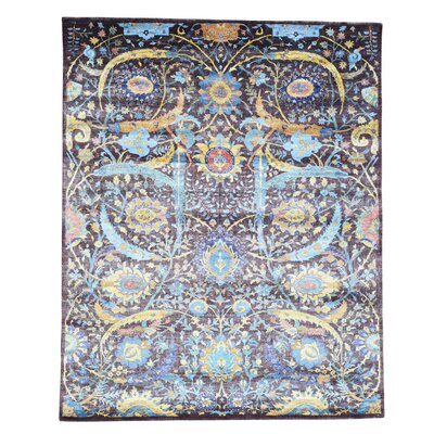 One-of-a-Kind Grenz Sickle Leaf Hand-Knotted Silk Area Rug