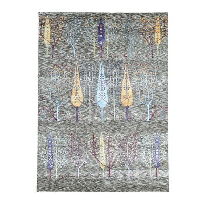 Willow and Cypress Tree Hand-Knotted Silk Gray Area Rug