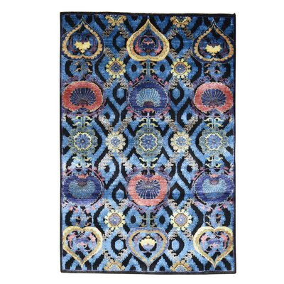 Crafts Hand-Knotted Silk Blue Area Rug