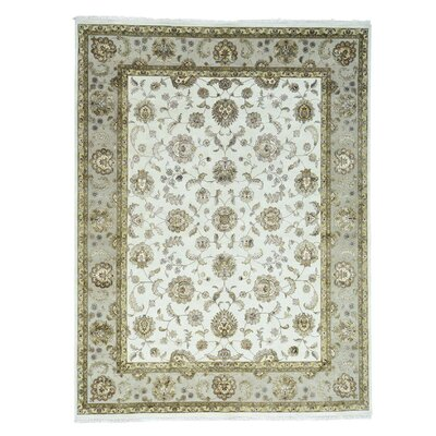 Rajasthan Half and Half Oriental Hand-Knotted Silk Ivory Area Rug