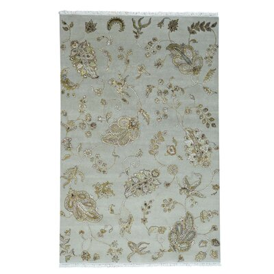 One-of-a-Kind Charette Transitional Open Field Hand-Knotted Silk Area Rug