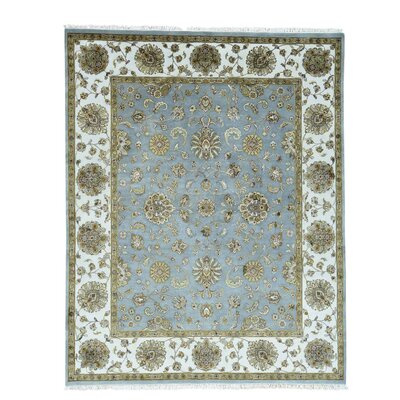 Rajasthan Flower Hand-Knotted Silk Blue Area Rug