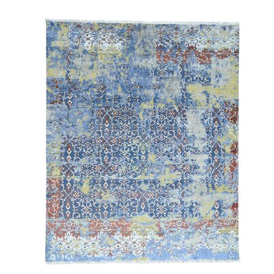 Oidized Broken Hand-Knotted Silk Blue Area Rug