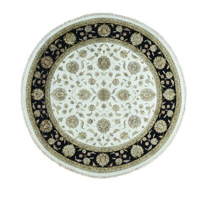 Rajasthan Oriental Hand-Knotted Silk Ivory Area Rug