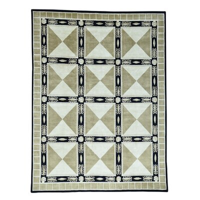 Versace Nepali Oriental Hand-Knotted Light Green/Black Area Rug