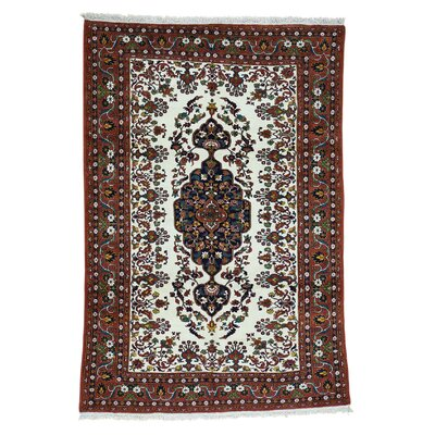 Afghan Hand-Knotted Ivory Area Rug