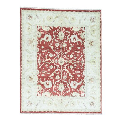 Agra Oriental Hand-Knotted Red Area Rug